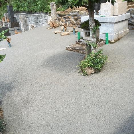 静岡県 雨水流出対策 透水性舗装ドライテック 墓地 材料施工