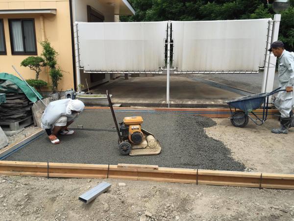 「夢だって練れる」 生コン・小規模・土間・スロープ・透水・玄関・エントランス・水
