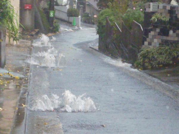 「ゲリラ豪雨とそれに付随する洪水」 透水・洪水・路面温度
