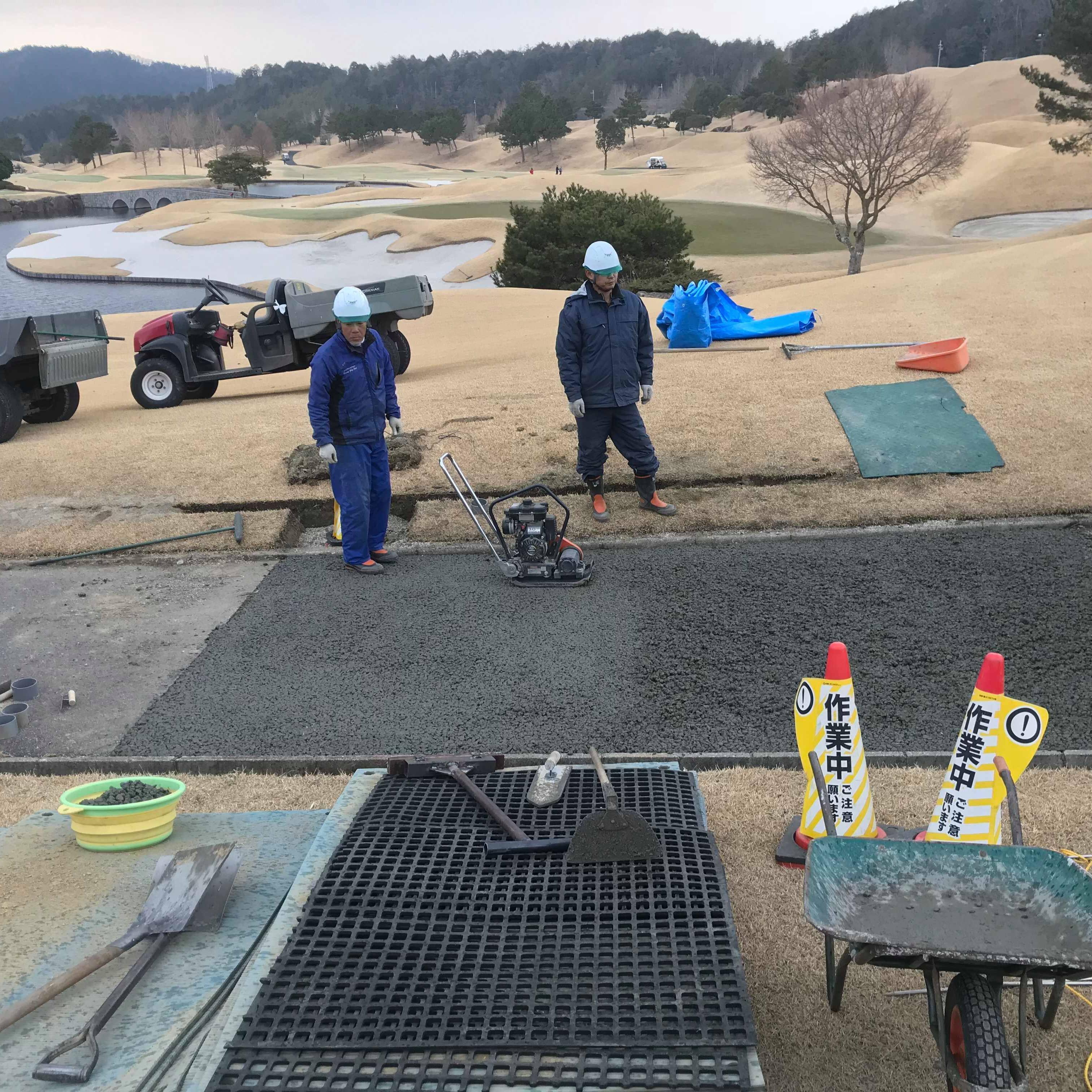 「バンカーが池にならない」 法面・透水・バンカー・ゴルフ・カート路・改修