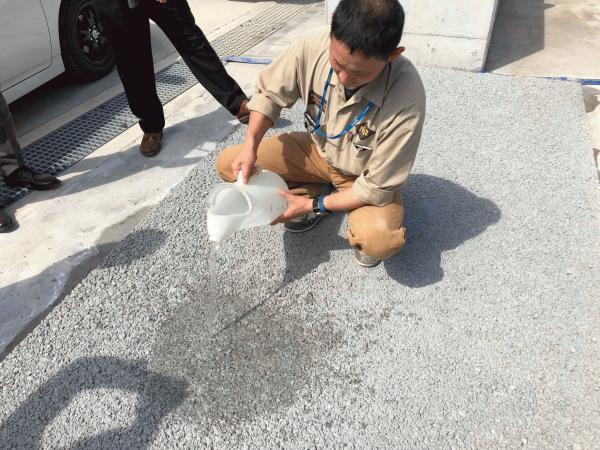 「生コン工場の新規事業|透水性コンクリート見学」