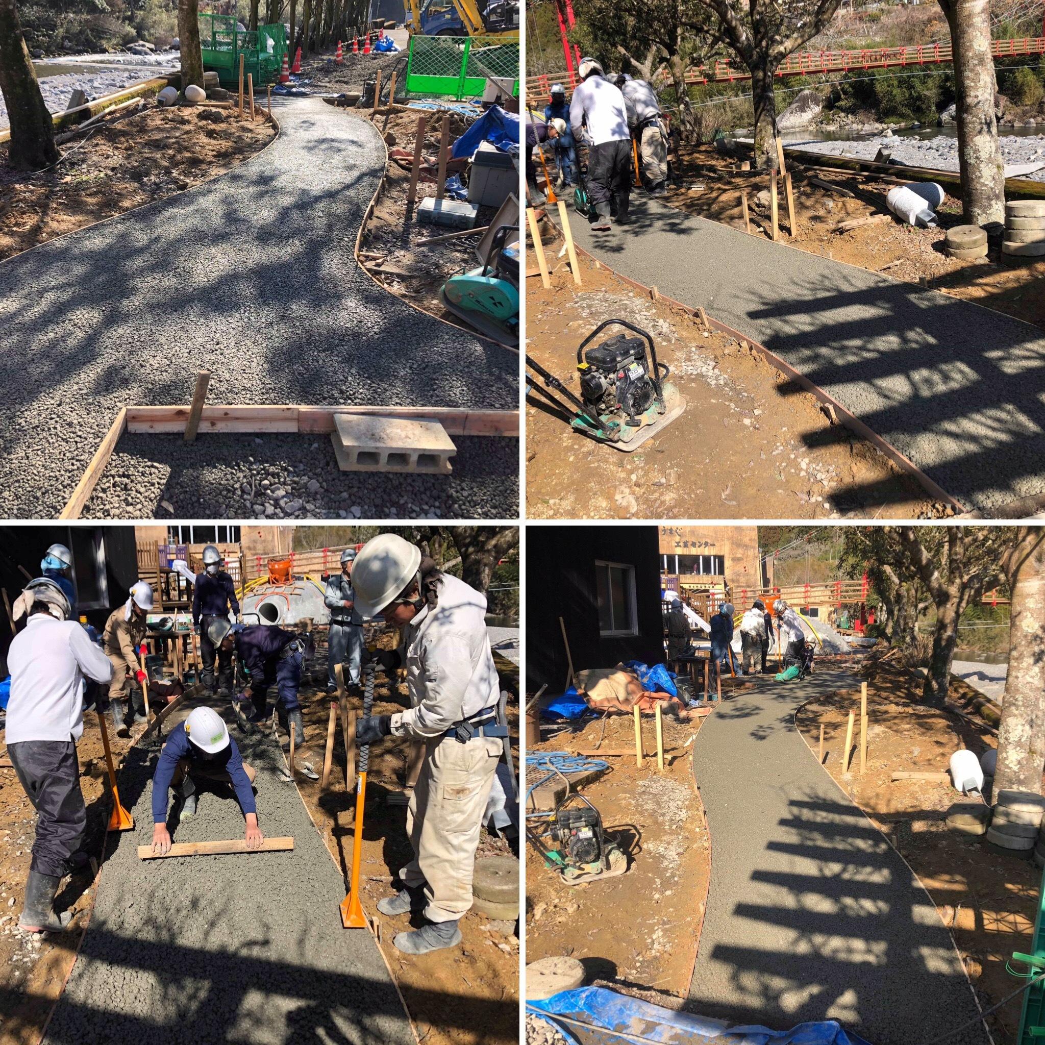 「そんなところでも届く生コンすごい」【馬路温泉】日本中どこにでも届く透水性コンクリート