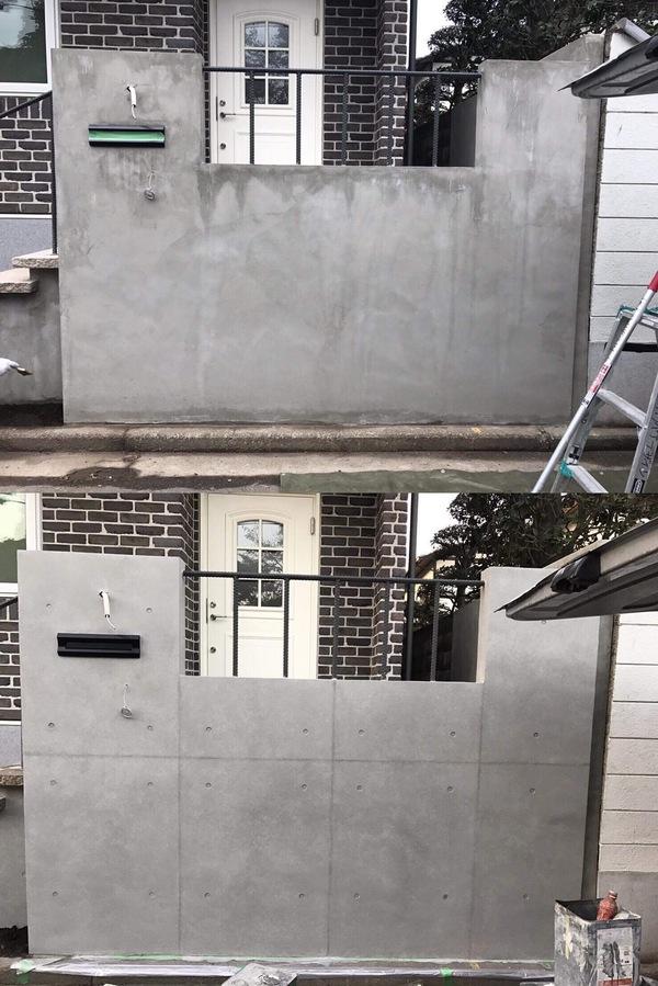 「シンプルモダンな門塀|エクステリア外構」