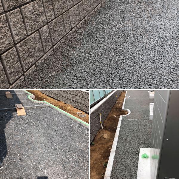 【神奈川】「パナソニックホームズ外構にも透水性コンクリート」NATEX施工100m2犬走り・勾配対策