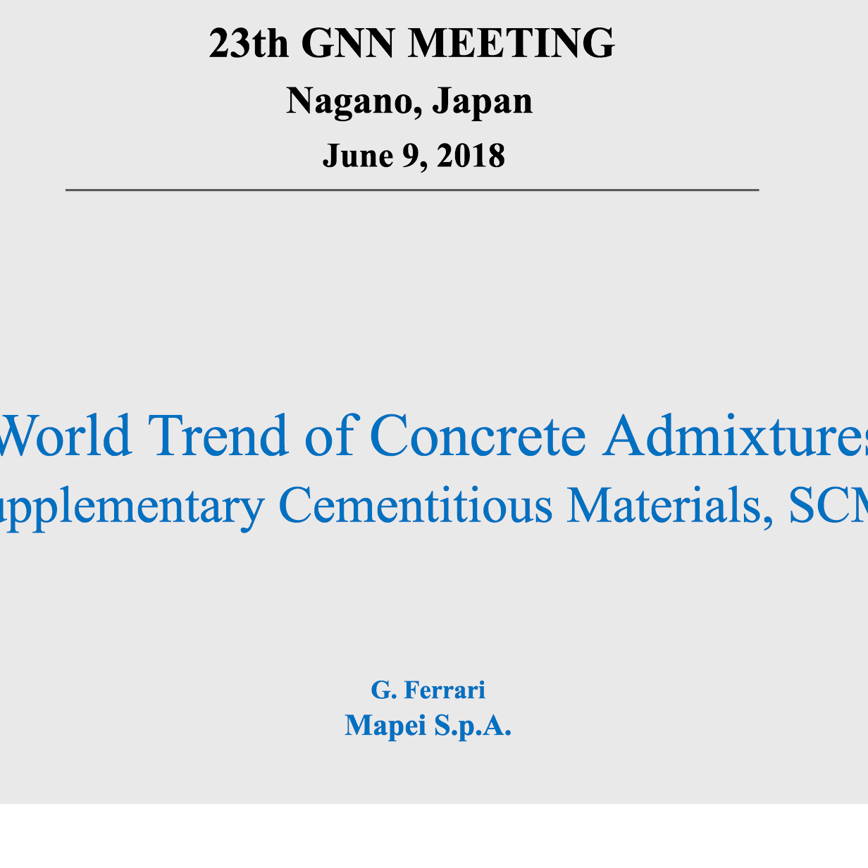 「World Trend of Concrete Admixtures|GNN長野」