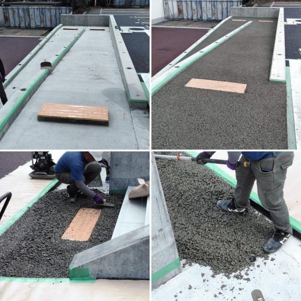 既存のコンクリートの上でも透水性コンクリートは打設できます